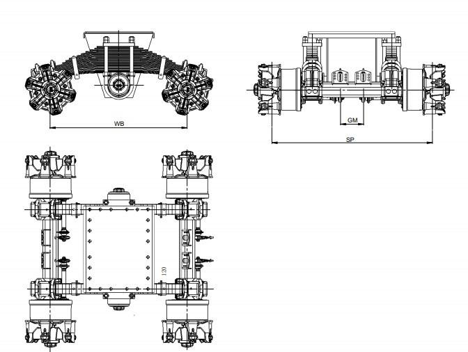 Suspension d'un monopoint – Véhicule à six roues de 28 tonne schémas